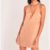 Missguided Silky Tab Neck Shift Dress Rose US 6 Edmonton, T5X 5Y1