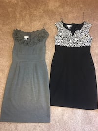 Two black and gray scoop-neck dresses