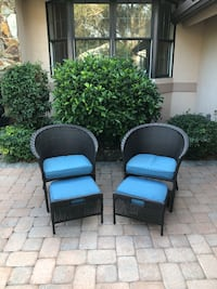 Resin Wicker Chairs w/Hide a way Ottomans   Bonita Springs, 34134