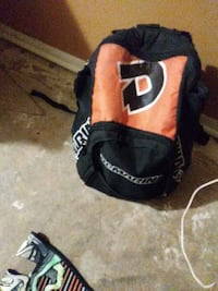 black and orange backpack