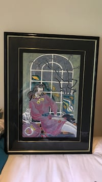 Black lacquer framed painting of woman Manalapan, 07726