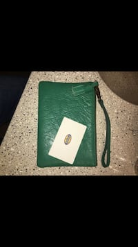 Fossil green leather Wristlet
