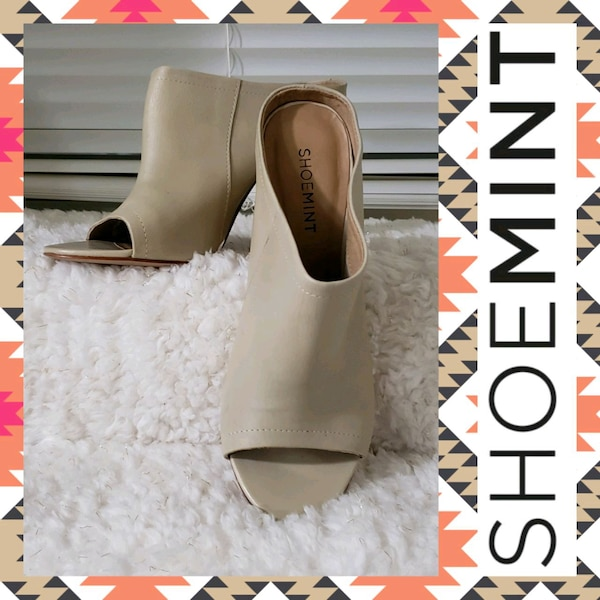 Shoemint Miller Leather Peep-Toe Dress Mules