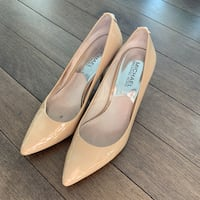 Pair of beige leather pointed-toe heeled shoes Vancouver, V6B 0A2