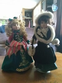 Porcelain dolls blonde and brown hair