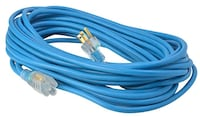 Woods 2435 16/3 Outdoor Cold-Flexible SJTW Extension Cord, Blue with Lighted End, 50-Foot