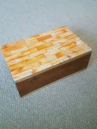 Anthropologie Orange and Wood Jewelry Trinket Box Laurel, 20707