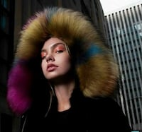 Black women's racoon fur lined parka with detachable hood Kitchener, N2M 0B1