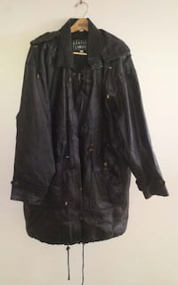 Leather Limited Hooded Black Leather Coat XL Rosemount, 55068