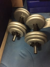 2 dumbbells with adjustable weights Burnaby, V5E 1J6