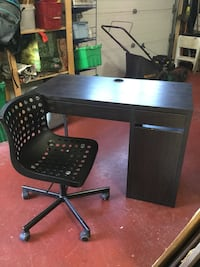 Black and gray computer desk with chair New Westminster, V3L 1T6