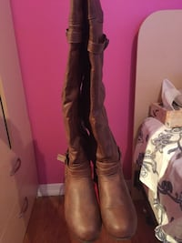 Pleather brown boots size 8