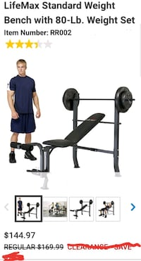 New in box.. life max 80 lb weight Lifting bench