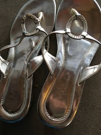 pair of gray leather open-toe sandals 2296 mi