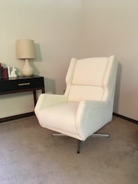 Faux Leather Swivel Wingback Chair