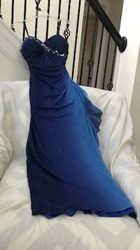 Blue and teal strapless gown