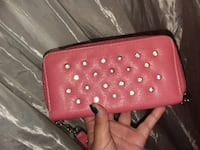 Pink leather studded long wallet Imperial Beach