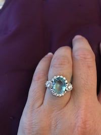 925 silver and aquamarine size 6 ring Laval, H7W