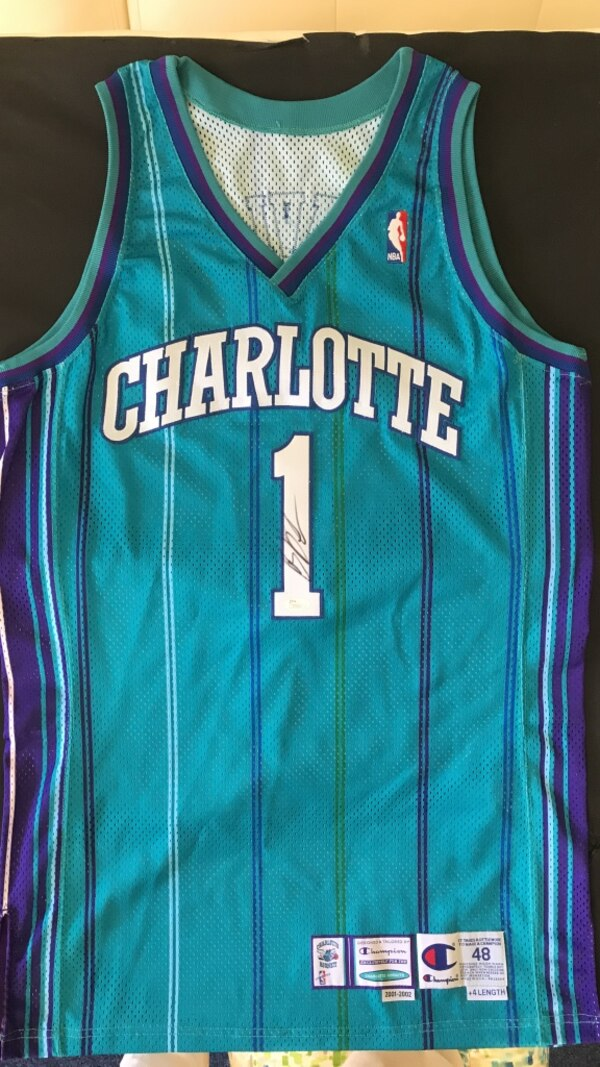 3bf6190cc1f Autographed Baron Davis Original Charlotte Hornets Jersey (Worn In Game)