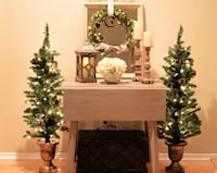2 Lighted Christmas Trees 4 Feet w/Gold Accented Base Decoration Indoor / Outdoor New Orleans