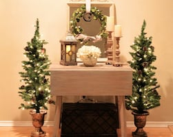 2 Lighted Christmas Trees 4 Feet w/Gold Accented Base Decoration Indoor / Outdoor