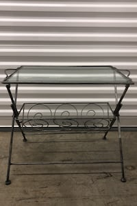 Steel and glass magazine/coffee table