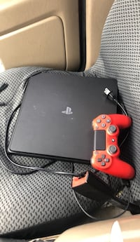 black Sony PS4 Slim with red and black DualShock 4 Lexington, 40509