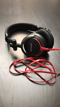 Black and red sony corded headphones