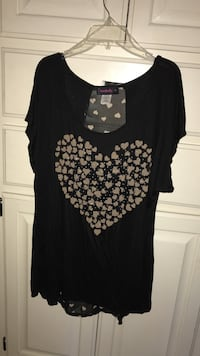 Women's black and gray heart-printed scoop-neck blouse Oklahoma City, 73170