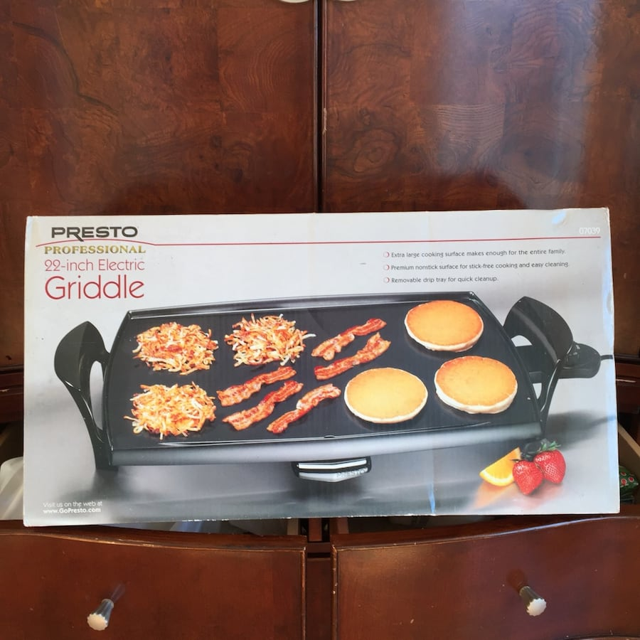 "New In Box 22"" Nonstick Electric Griddle with Drip Tray"