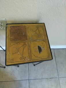 two brown wooden tables