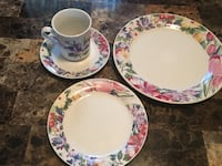 white-and-pink floral ceramic dinnerware set Holbrook