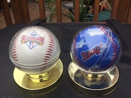 two round white-and-blue ball  - $7 each