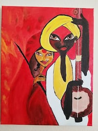 two people using string instrument painting