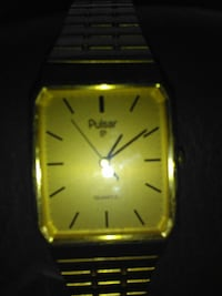Authentic  gold-colored Pulsa analog watch Calera, 35040