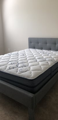 Queen bed with white and gray bed mattress Rockville, 20852