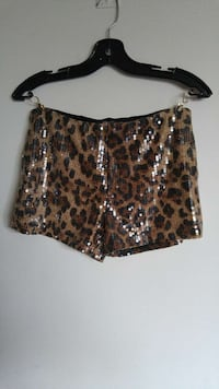 sequin embellished brown and black leopard print shorts