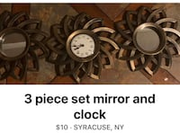 3 Peace  set  Clock and  mirrors