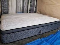 quilted white and gray pillow top mattress