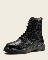 Croc Embossed Lace-up Combat Boots