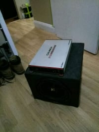 black and gray subwoofer speaker Brooklyn, 11232