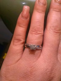 Silver Ring with diamond accent engagement