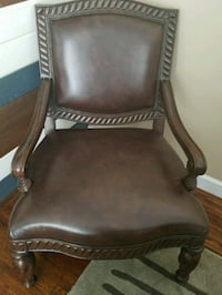 brown leather padded brown wooden armchair Saline, 48176
