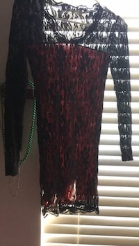 black and red lace mini dress or shirt Sterling, 20164