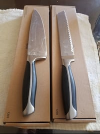 two black-and-grey kitchen knives new princess house