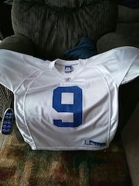 white and blue 9 print jersey shirt