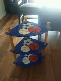 blue and brown wooden table