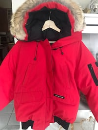 Red and white parka jacket