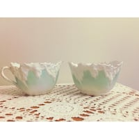Antique mint green sugar bowl and creamer set