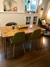 Mid modern century dining table and bench